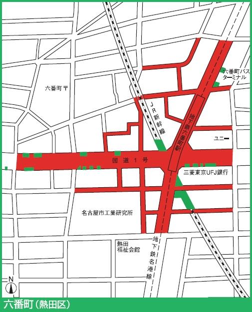 名港線六番町駅付近の駐輪禁止エリア