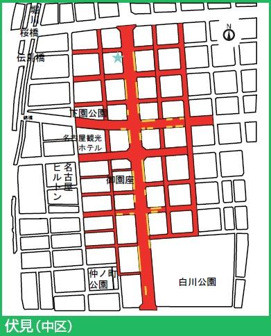 東山線伏見駅付近の駐輪禁止エリア
