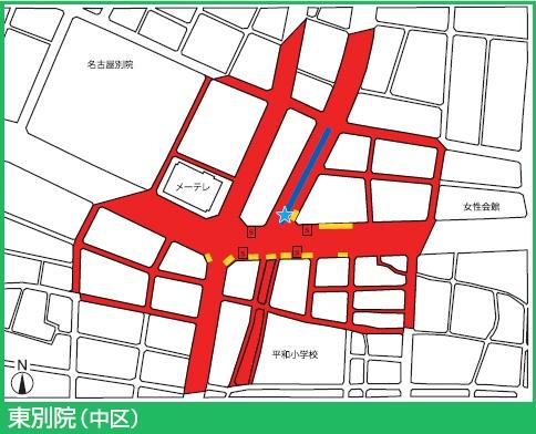 名城線東別院駅付近の駐輪禁止エリア