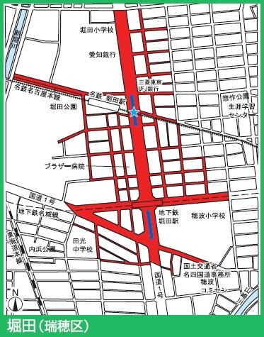 名城線堀田駅付近の駐輪禁止エリア