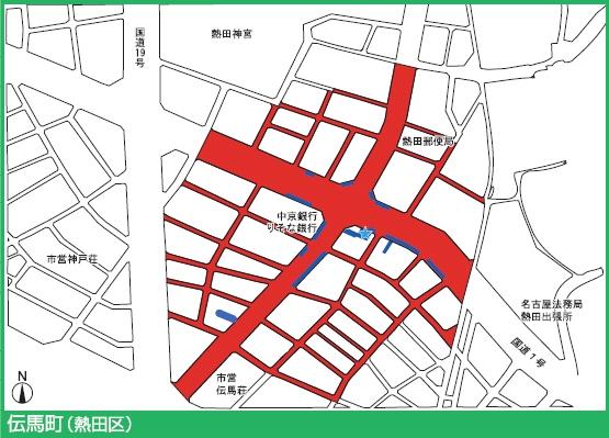 名城線伝馬町駅付近の駐輪禁止エリア
