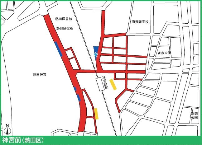 名城線神宮西駅付近の駐輪禁止エリア