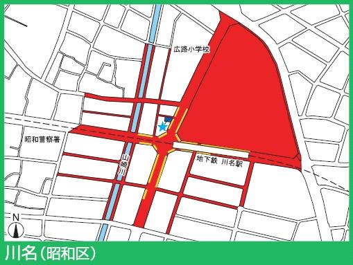 鶴舞線川名駅付近の駐輪禁止エリア