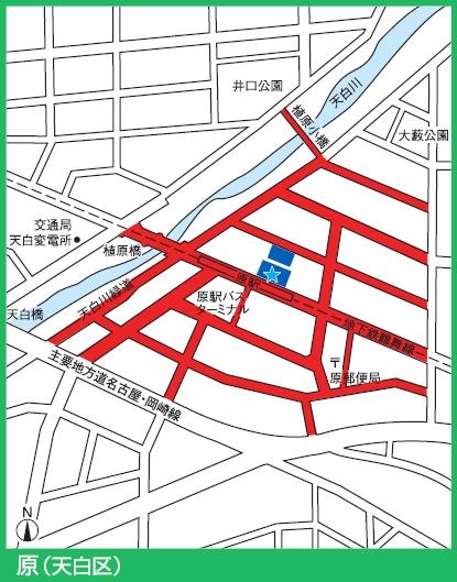 鶴舞線原駅付近の駐輪禁止エリア